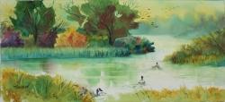 Escape After Dawn 14 x 30 Original Watercolor