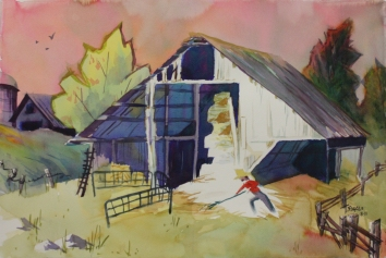 Murphys Barn 15 x 22 Original Watercolor