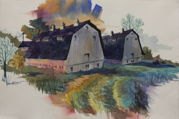 Percy Lasby Farms 15 x 22 Original Watercolor